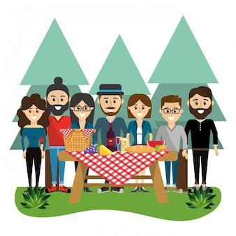 Vrienden op picknick