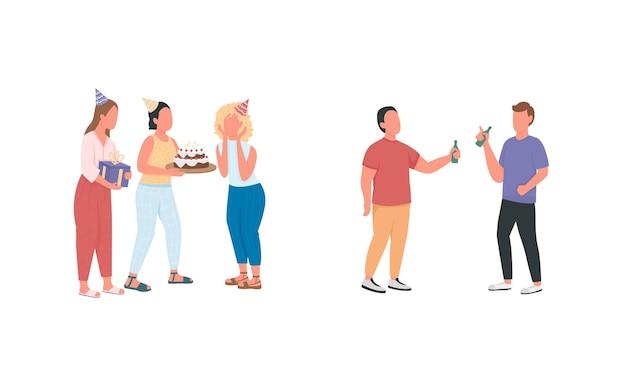 Vrienden op verjaardagsfeestje egale kleur anonieme tekenset