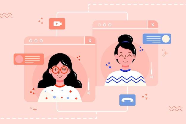 Vrienden praten met elkaar tijdens een videogesprek