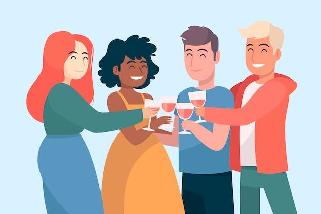 Vrienden roosteren samen met wijnglazen