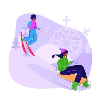 Vrienden sleeën en skiën bergafwaarts