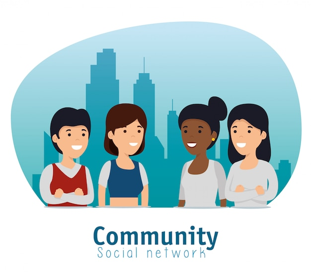 Vrienden sociale gemeenschap met berichtensamenwerking
