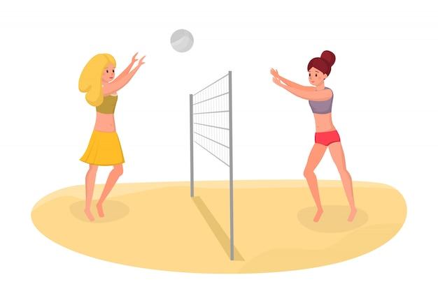 Vrienden spelen beachvolleybal vectorillustratie. vrije tijd op vakantie actief doorbrengen