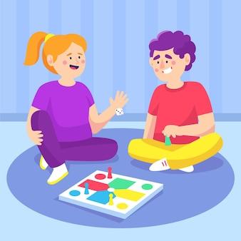 Vrienden spelen ludo-spel op verdieping