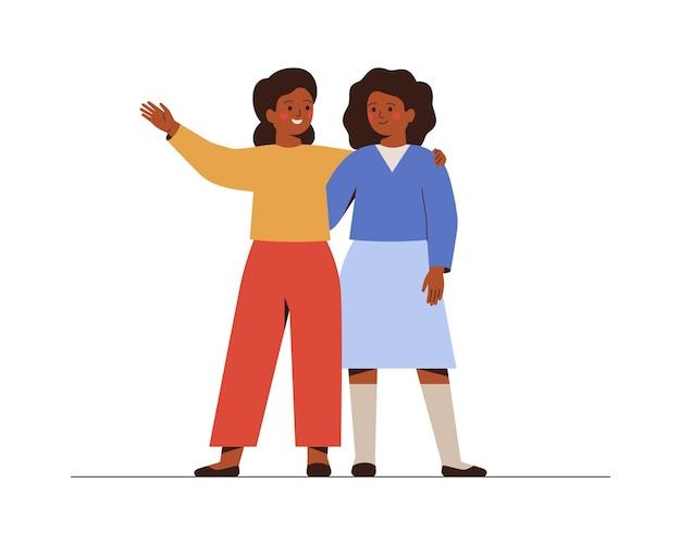 Vrienden staan samen en omarmen glimlachen twee schoolmeisjes begroeten en ondersteunen elkaar