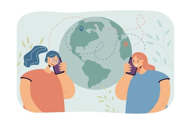 Vrienden uit verschillende continenten praten over de telefoon