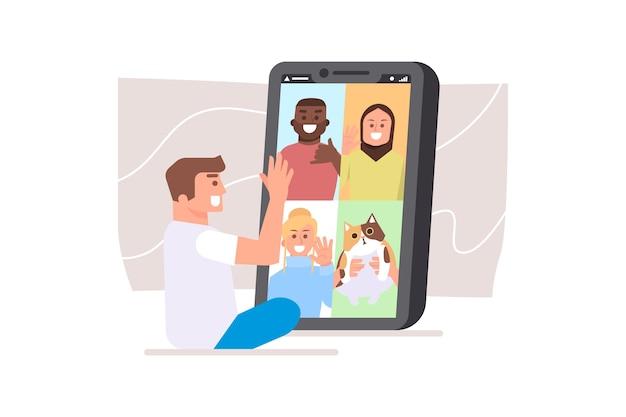 Vrienden videobellen concept