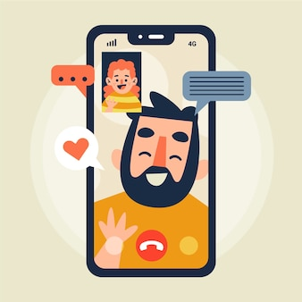 Vrienden videobellen illustratie met telefoon