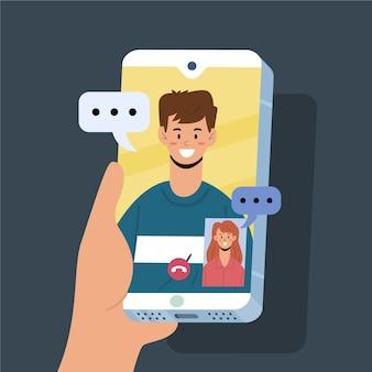 Vrienden videobellen met elkaar