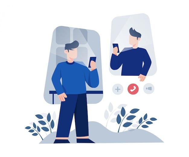 Vrienden videobellen op de smartphone