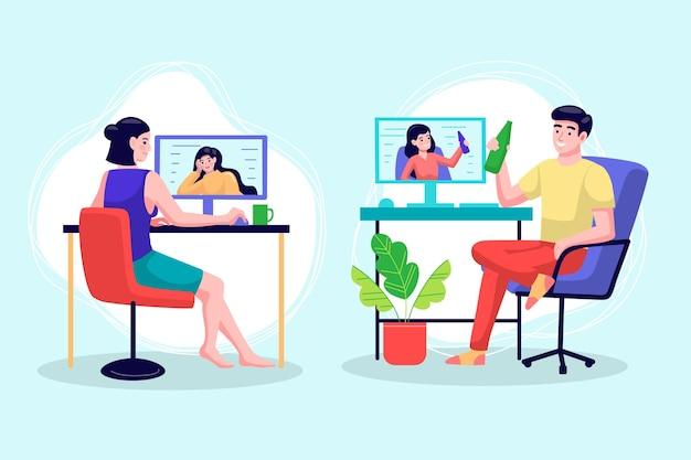 Vrienden videoconferentiescènes