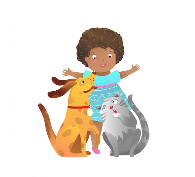 Vrienden voor altijd een meisje en een puppy hond en kat kind clip art cartoon