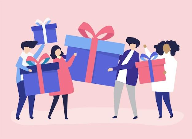 Vrienden wisselen geschenkdozen met elkaar uit