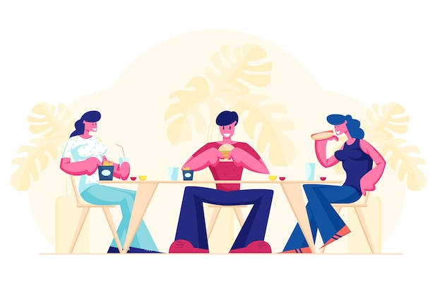 Vriendenbijeenkomst in fast-food cafe of bar. cartoon vlakke afbeelding