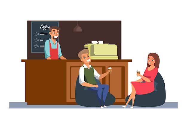 Vriendencafetaria die vlakke afbeelding ontmoeten, vrolijke barista en klanten stripfiguren, datum in café, man en vrouw zitten en praten, koffiepauze. horeca, drankverkoop