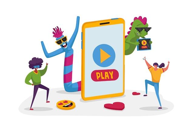 Vriendfiguren kijken naar grappige video en dansen