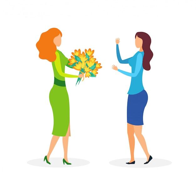 Vriendinnen met bloemen platte vectorillustratie
