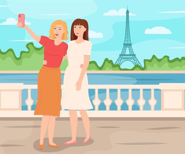 Vriendinnen nemen een foto tegen de achtergrond van de eiffeltoren, vectorillustratie