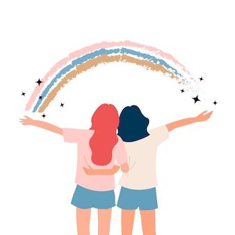 Vriendinnen omhelzen elkaar met regenboog en glitter