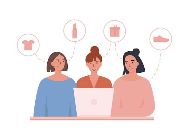 Vriendinnen online bestellen met behulp van laptop. samen met vrienden winkelen in de winkel. het kiezen van verschillende items zoals cadeau, schoenen, cosmetica en kleding.