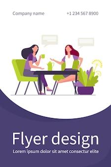 Vriendinnen ontmoeten elkaar tijdens een kopje koffie. vrouwen die thee drinken en platte illustratie chatten. flyer-sjabloon
