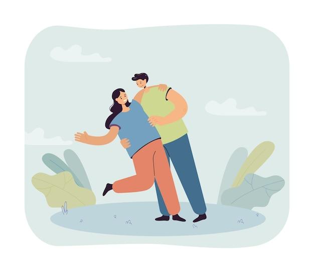 Vriendje houdt vriendin romantisch vast. gelukkige paar, mannelijke en vrouwelijke karakters op datum platte vectorillustratie