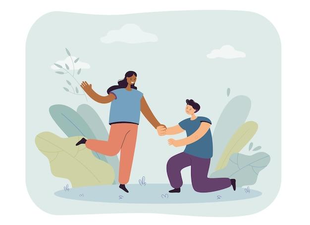 Vriendje knielt en houdt de hand van vriendin vast. jonge man die liefde bekent aan een gelukkige vrouw vlakke afbeelding
