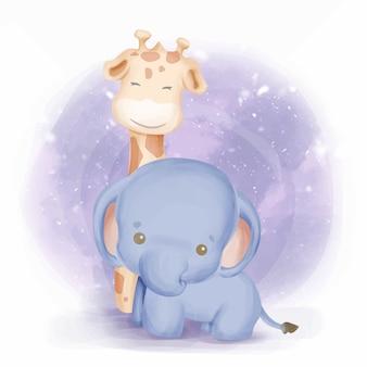 Vriendschap babyolifant en giraf