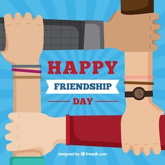 Vriendschap dag achtergrond met handen ondersteunen