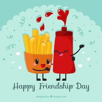 Vriendschap dag achtergrond met schattige cartoon