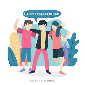 Vriendschap dag achtergrond platte ontwerp