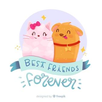 Vriendschap dag aquarel stijl achtergrond