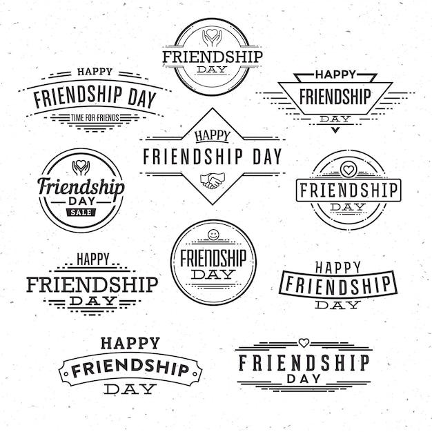 Vriendschap dag typografische label ontwerpset