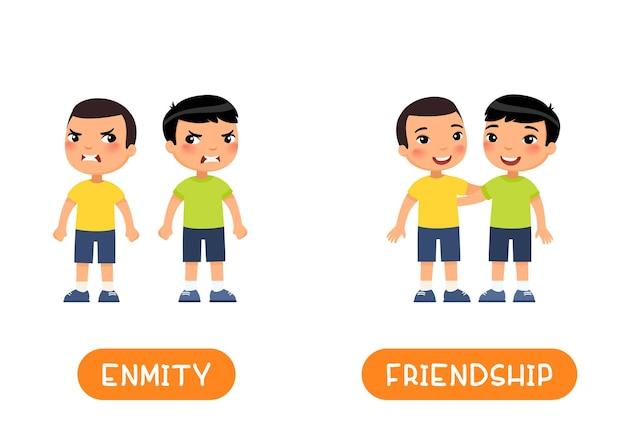 Vriendschap en vijandschap antoniemen flash-kaart, tegenstellingen concept.