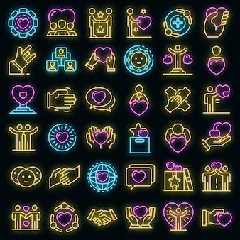 Vriendschap pictogrammen instellen. overzichtsreeks vriendschaps vectorpictogrammen neoncolor op zwart