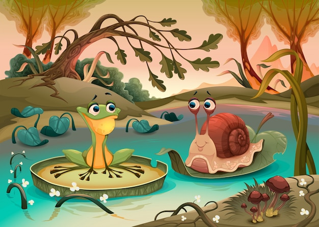 Vriendschap tussen kikker en slak.