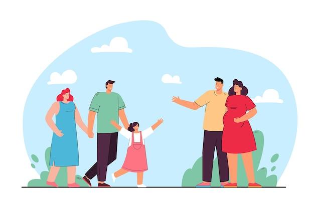 Vriendschap van gezinnen vlakke afbeelding