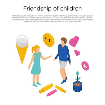 Vriendschap van kinderen sjabloon, isometrische stijl