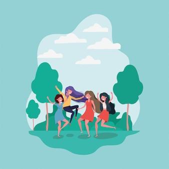 Vriendschap van meisjes cartoons