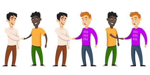 Vriendschap van volkeren. tekens van verschillende nationaliteiten in cartoon-stijl.
