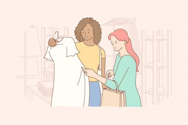 Vriendschap, winkelen, recreatie, mode, beauty concept