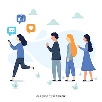 Vriendschapsconcept gedood door sociale media
