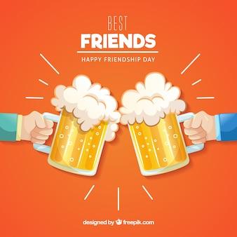 Vriendschapsdag achtergrond met bieren