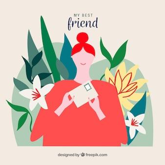 Vriendschapsdag achtergrond met gelukkig meisje