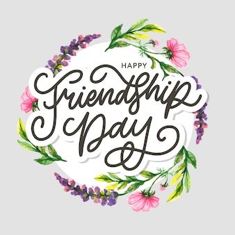 Vriendschapsdag illustratie met tekst en elementen voor het vieren van vriendschapsdag 2020