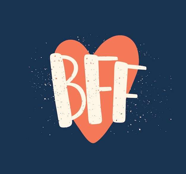 Vriendschapsdag kleur vector belettering. beste vrienden voor altijd afkorting. inspirerende inscriptie en hart geïsoleerd op blauwe achtergrond. vriendelijke vakantieviering. creatief t-shirt printontwerp.