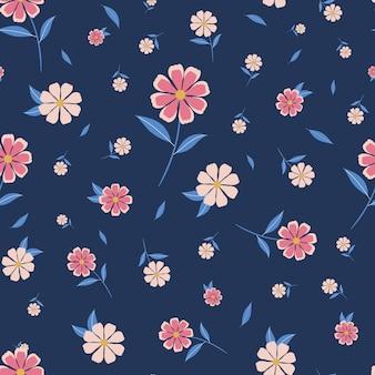 Vrij bloemen naadloos patroon met blauwe achtergrond