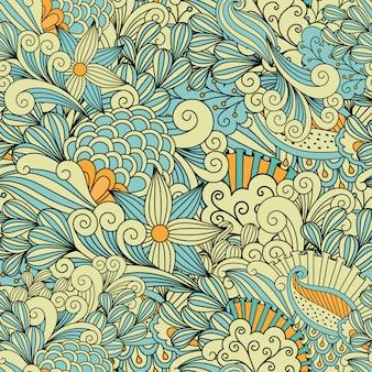 Vrij gele en blauwe achtergrond die van patronen wordt gemaakt