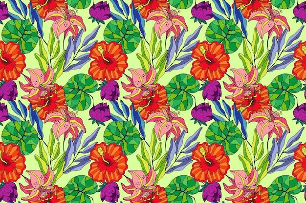 Vrij geschilderd exotisch bloemenpatroon