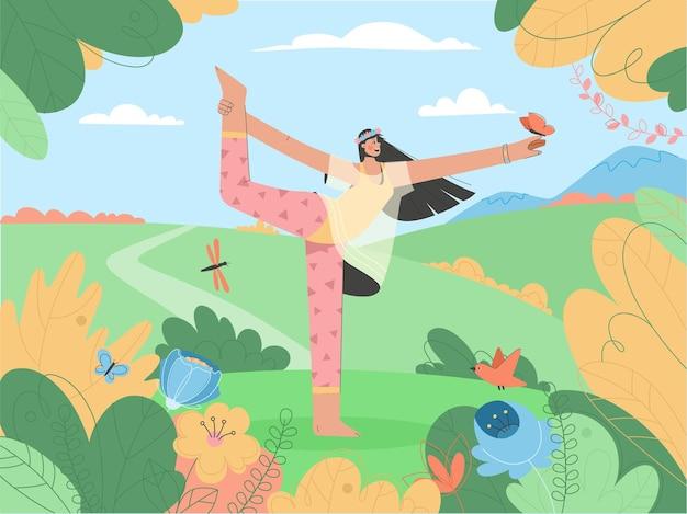 Vrij jonge vrouw doet yoga buitenshuis